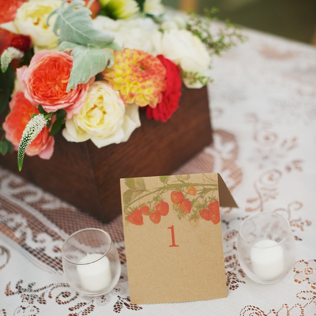 The table names were a DIY project created by Jessica and her family. Each card featured a picture of a branch of strawberries along with the table number in red.