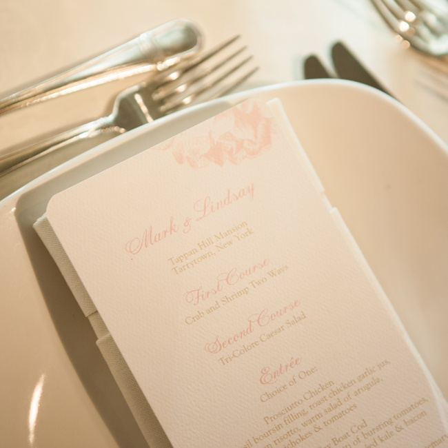 There was a menu card at each place setting with the courses and choices of entrees.