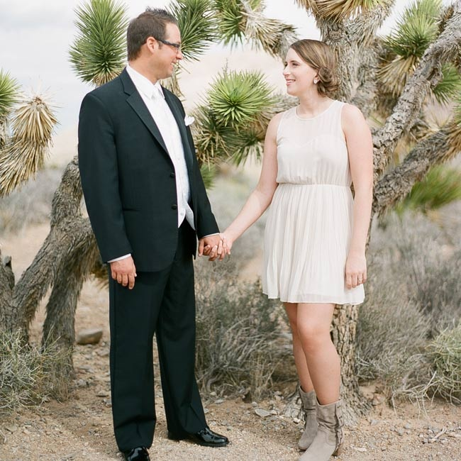 Ruth changed into a short, chiffon dress and suede boots for the reception.