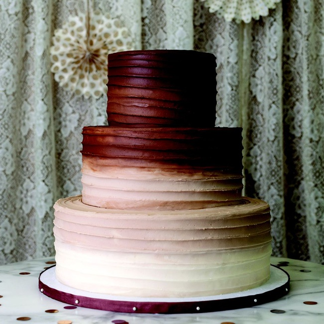 Chocolate to vanilla buttercream is a tasty way to add an ombre effect.