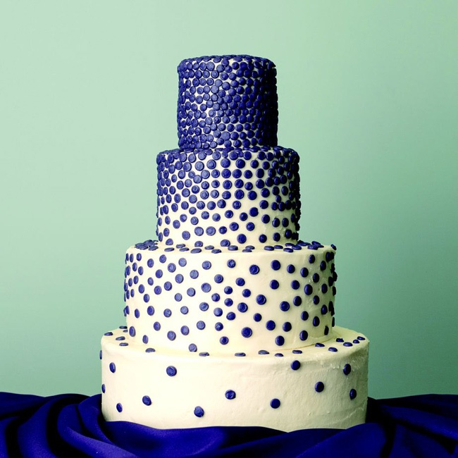 Jewel-toned dots added a touch of glam to a buttercream cake.