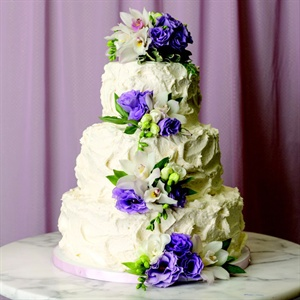 Textured Buttercream Cake With Cascading Flowers