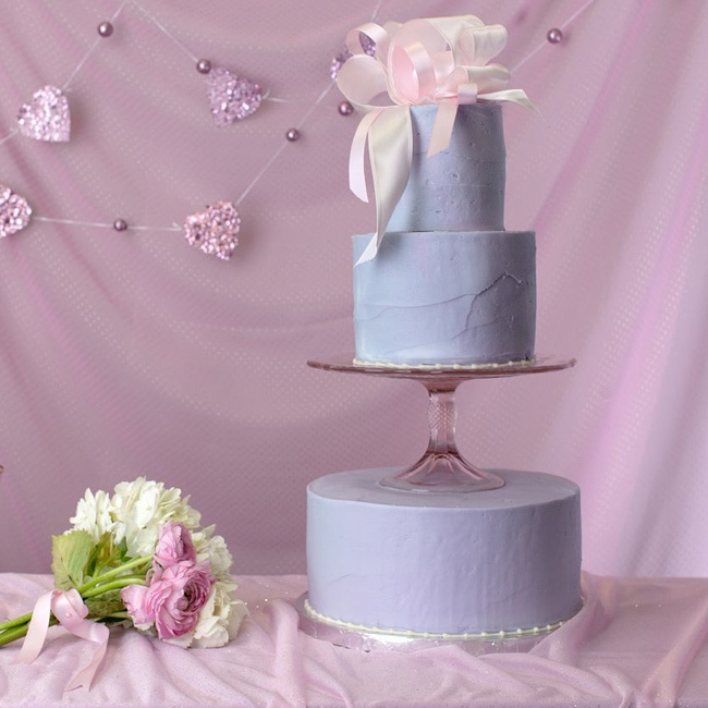 Instead of flowers this lavender colored cake was topped with a pretty bow.