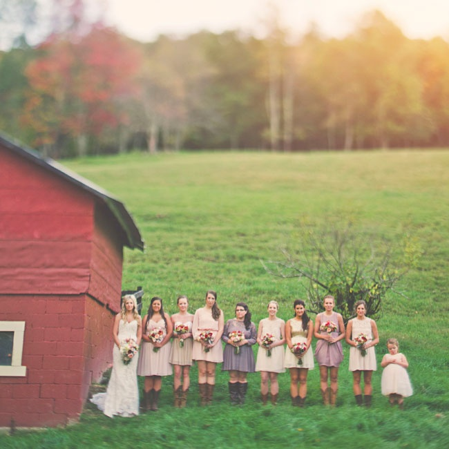 The bridesmaids wore short dresses in warm earth tones in a variety of styles.
