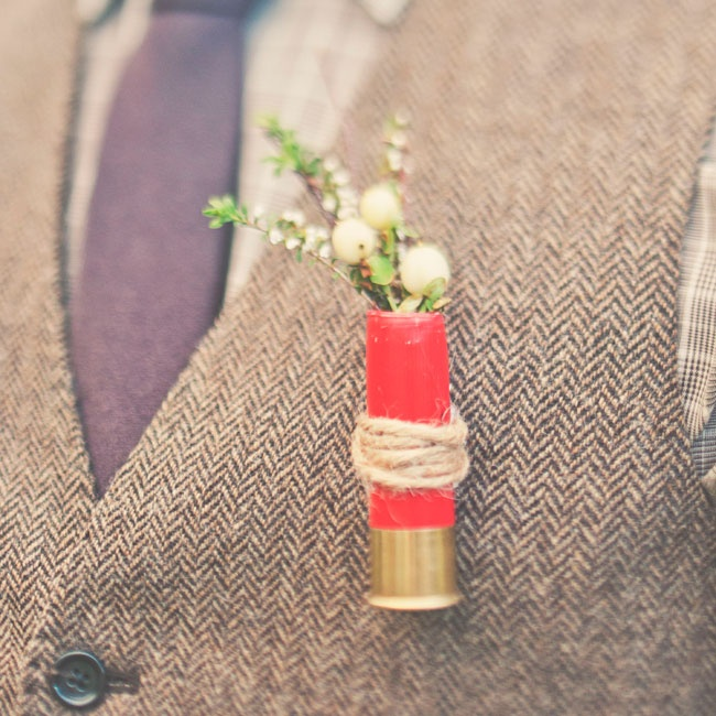 Doug got crafty with his simple hypernicum berry boutonniere, using a shot gun shell tied with twine as the base.