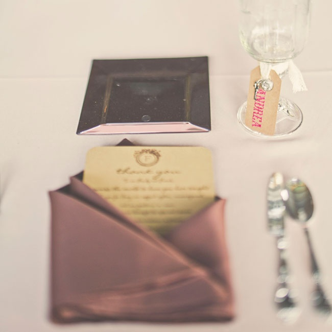 Thank you cards on antiqued paper were tucked into the copper colored linens at each place setting.