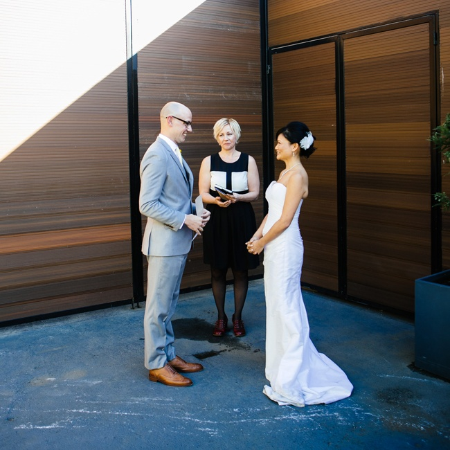 The couple wed a simple outdoor ceremony at The Green Building before heading inside for the festivities.