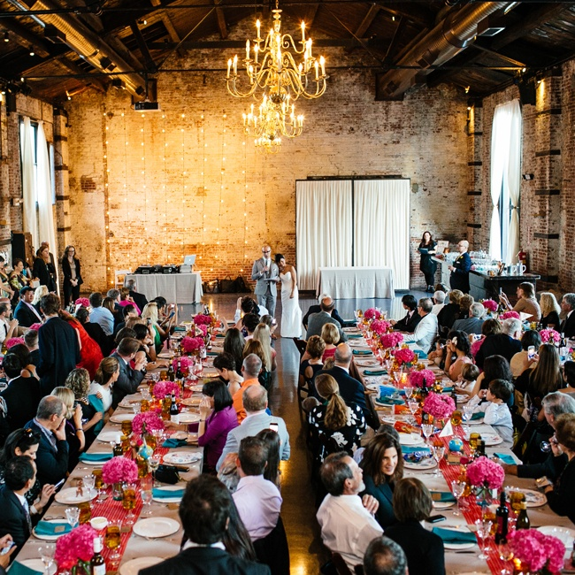 The reception was held at The Green Building in Carroll Gardens. The airy space, a former brass foundry, had an industrial feel as well as an urban edge with its exposed brick walls, wooden beams and elegant chandeliers.