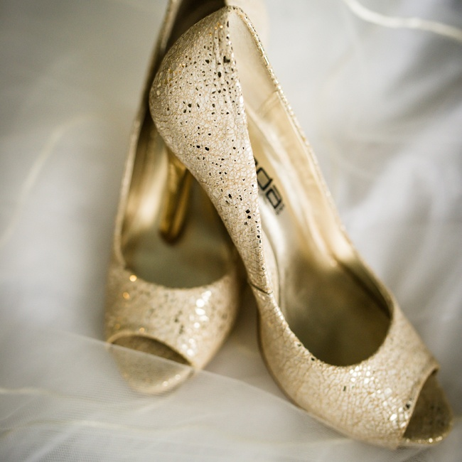 Christina wore these speckled metallic peep-toe heels down the aisle on her wedding day.