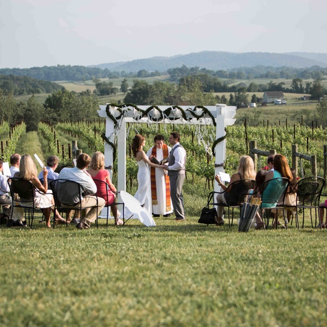 The couple exchanged vows in a ceremony at the Delaplane Cellars Winery, overlooking a stunning expanse of vineyards and rolling hills.