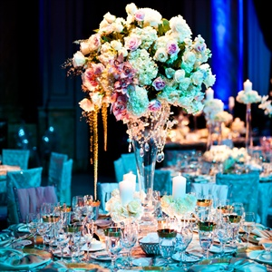 Elegant High Centerpieces With Crystal Accents
