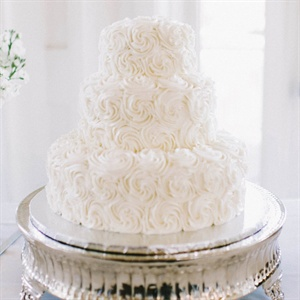 White Rosette Wedding Cake