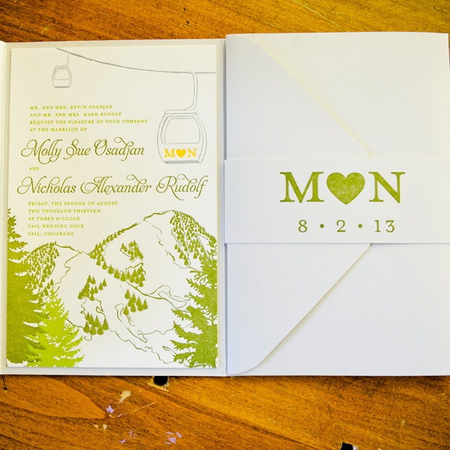 Molly and Nick wanted to capture the essence of Vail and Colorado in their invitations. They found photos that represented their vision to Cloud9 Weddings & Papers who designed the final mountain-themed letterpress invitations.
