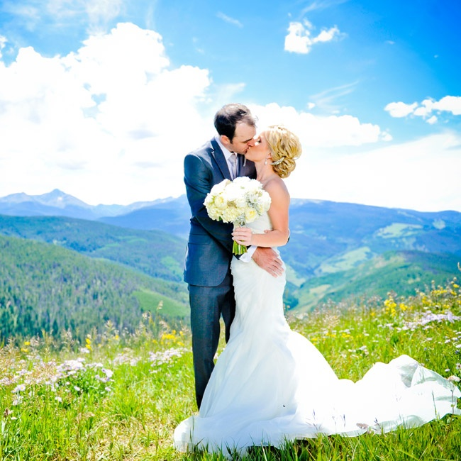 The top of Vail Mountain provided stunning views of the natural landscape, creating the breathtaking, dramatic backdrops for Molly and Nick's photos.
