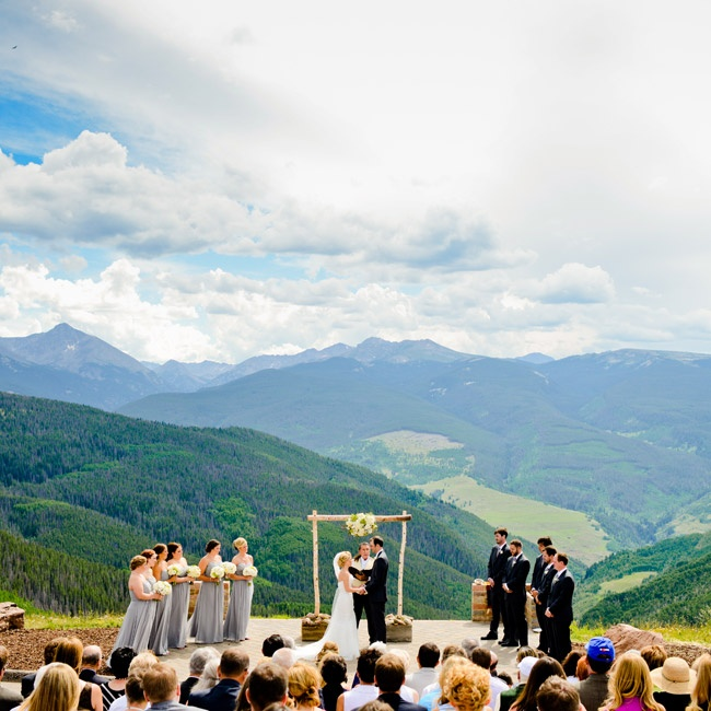 The ceremony took place on top of Vail Mountain at the Wedding Deck, overlooking the gorgeous natural setting. The couple chose to keep the ceremony decor simple, keeping the focus on the natural beauty of the scenery.