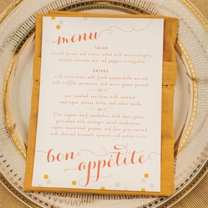 Art-Deco-Inspired Menu Cards and Gold Place Settings