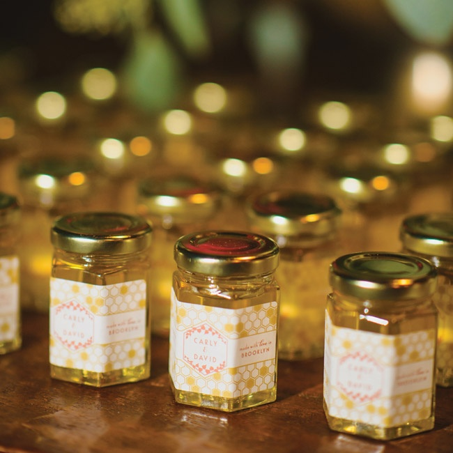 Guests took home homemade honey, which David harvested from his bees in the months prior to the wedding. They placed the honey in 2 oz jars, designed with a special label for the wedding.