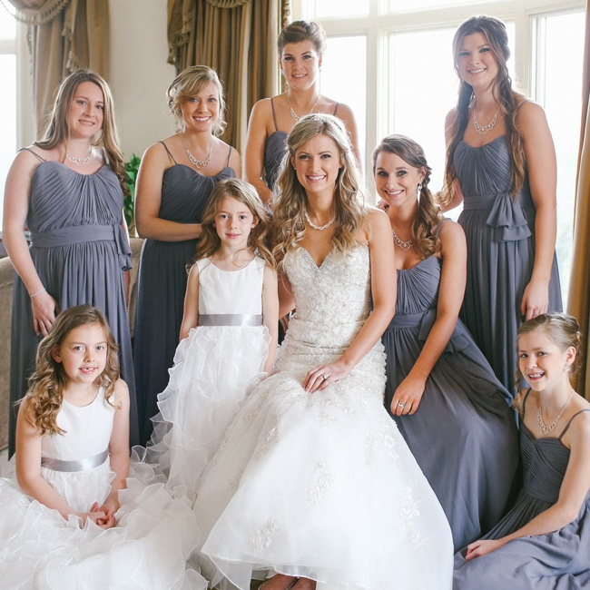 America voted for Rebekah's bridesmaid look and chose the slate colored Watters Falcon Sweetheart floor-length gown with matching ruffled flower girl look.