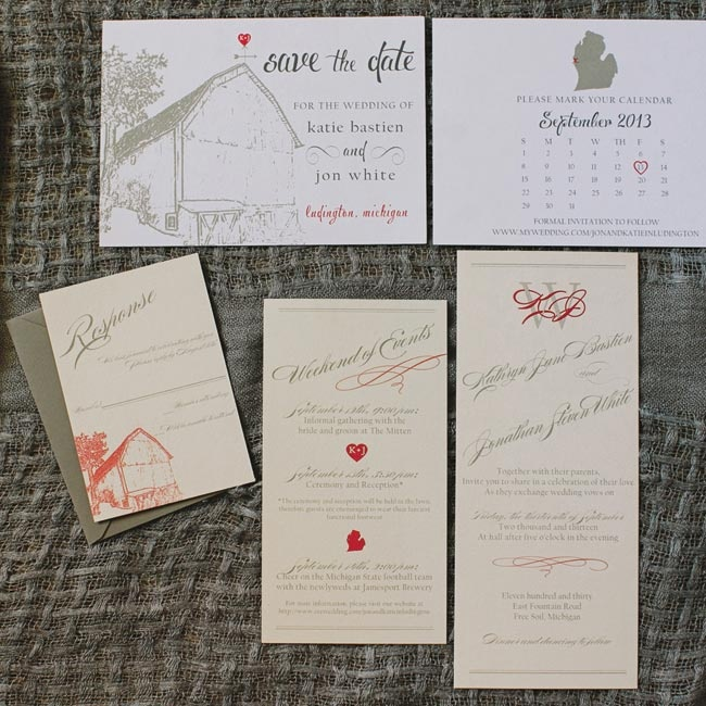The couple's save the dates and invitation suite shared a rustic barn motif and elegant gray script.