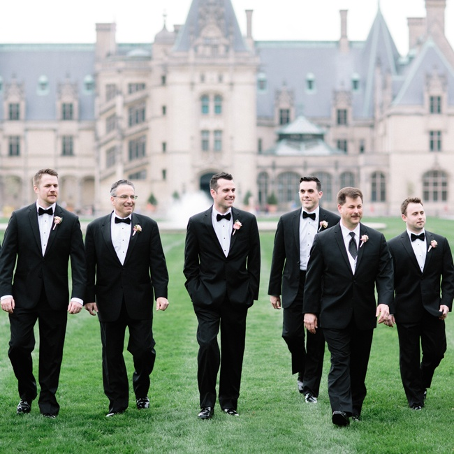 Pete's groomsmen were clad in matching black tuxedos and bowties from Men's Wearhouse.