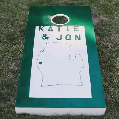 Michigan-Themed Cornhole Board