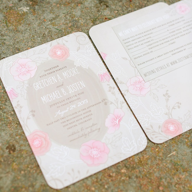 Gretchen and Michael's invitation suite had a wooden, floral watercolor theme.