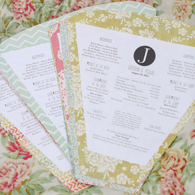 With the help of her sister, the bride created these angular, patterned programs for the ceremony.