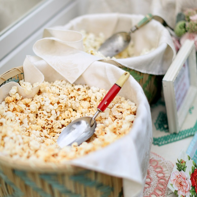 Guests served themselves from a popcorn bar at the reception.