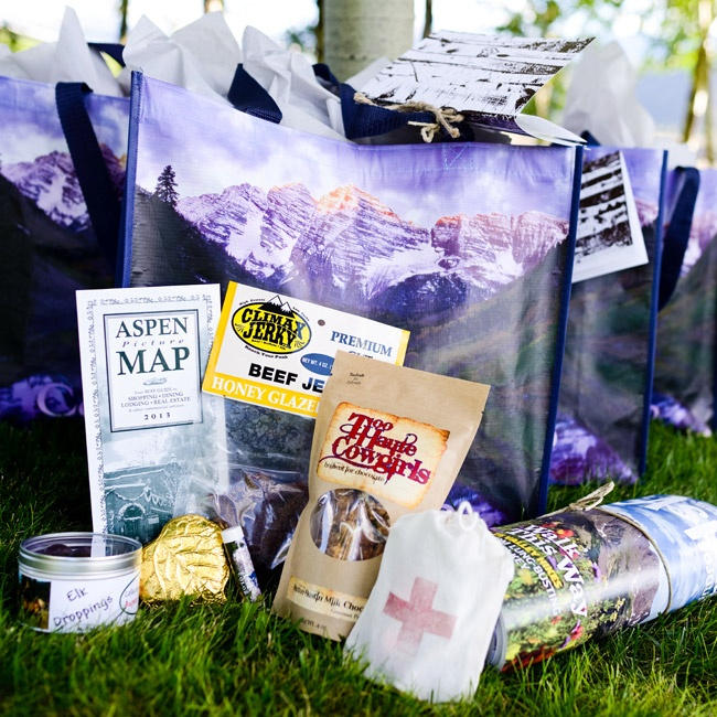 Guests were welcomed to Aspen with a bag of goodies including a hangover kit and a map of the area.