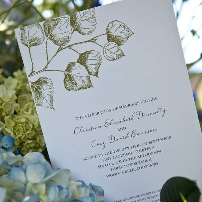 Christina and Cory's ceremony programs were accented with a green leaf design.