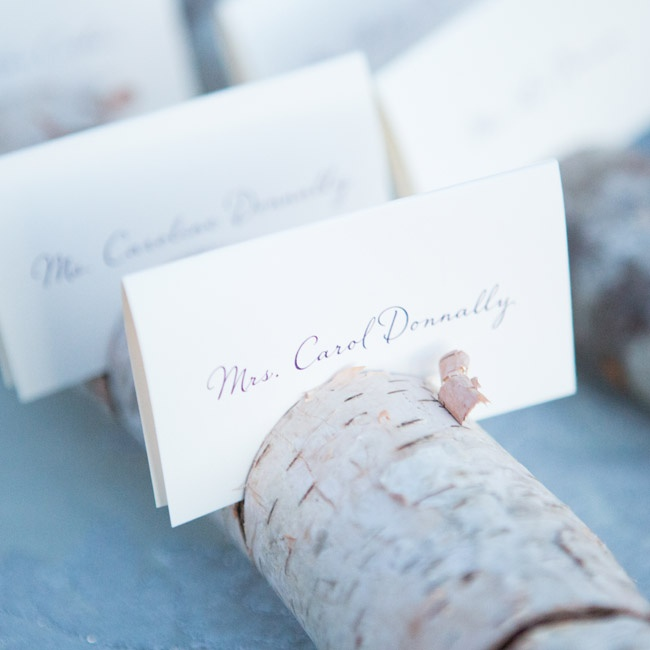 Escort cards were placed in slatted birch branches.