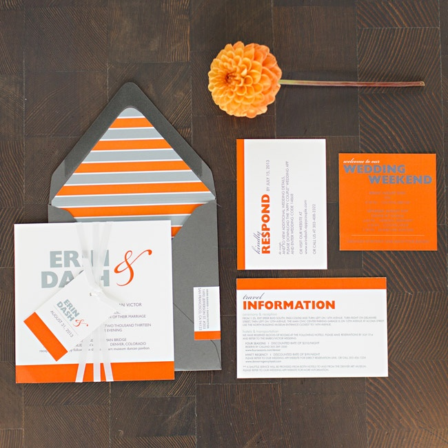 Erin and Dash's bold orange invitation suite set the tone for the celebration's bold design aesthetic.
