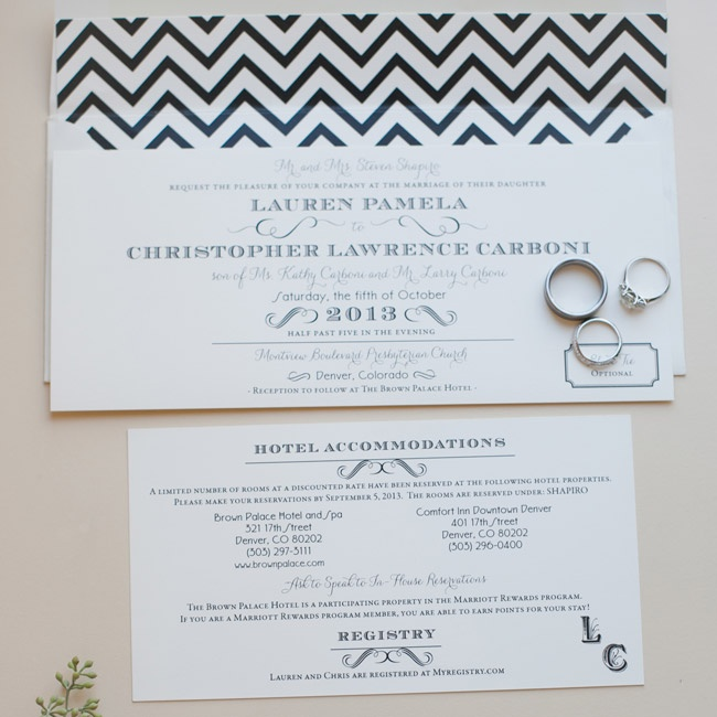 The couple's invitation suite mixed formal with trendy with black and white chevron detailing.