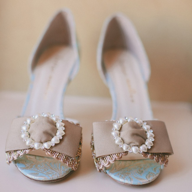 The bride walked down the aisle in these DIY-inspired, bowed peep-toe heels from BHLDN.