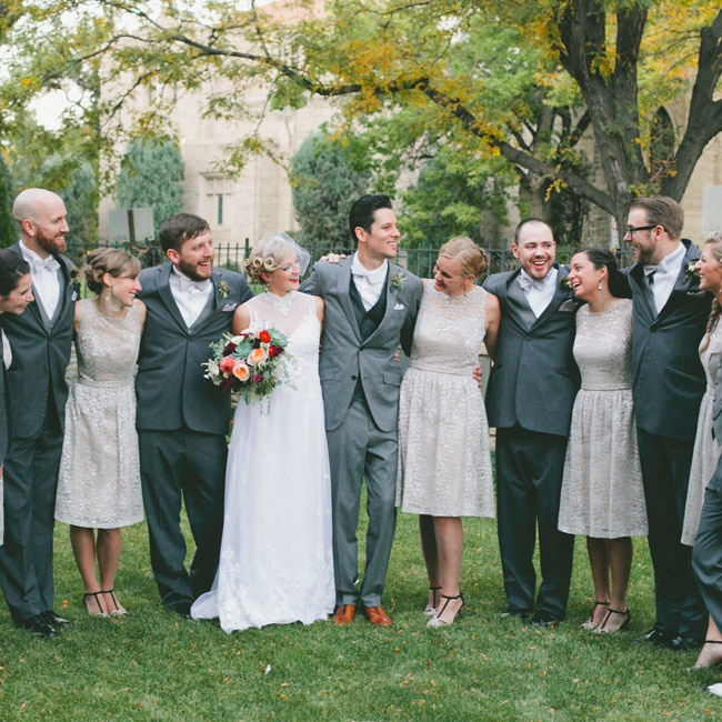 The wedding party had a casual, vintage vibe in its neutral color palette and charcoal suits.