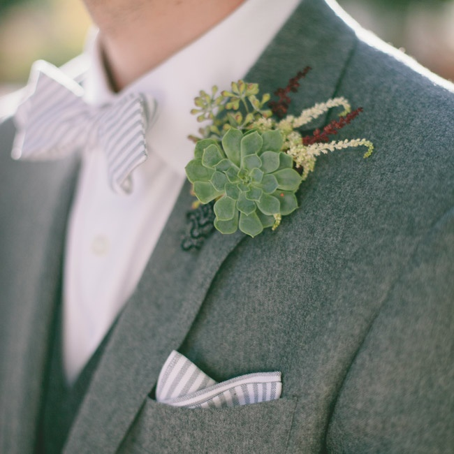 Groomsmen accented their heathered, charcoal suits with matching striped bowties, pocket squares and textured succulent boutonnieres.