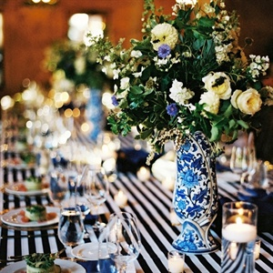 Patterned Blue Reception Decor