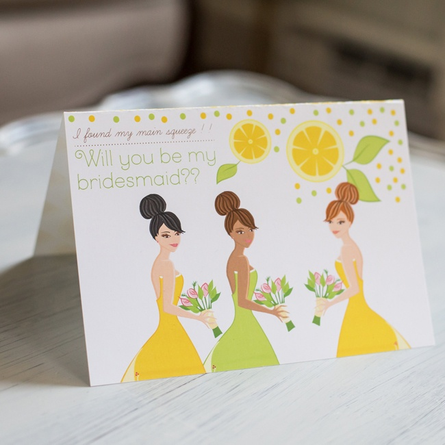These illustrated citrus-themed cards are a fun way to propose to your bridesmaids.