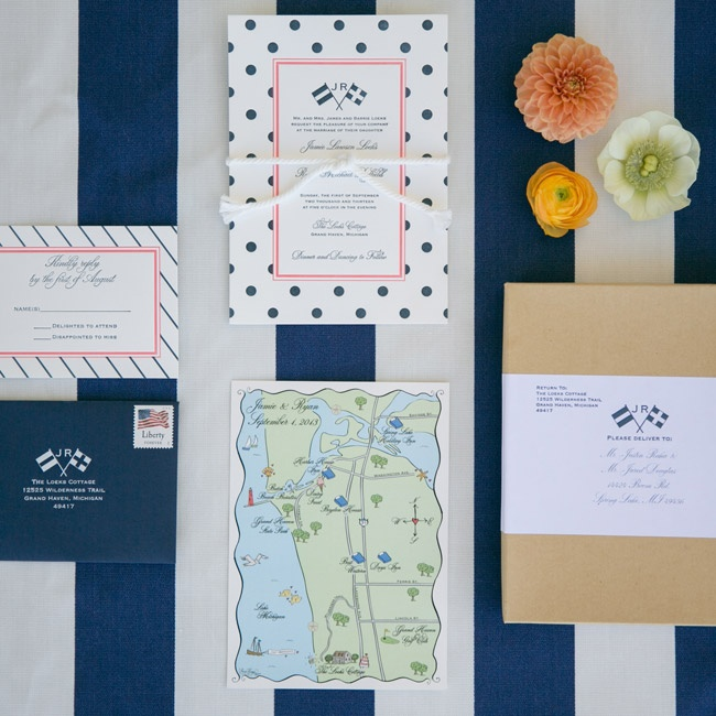 Jamie and Ryan's invitation suite was custom designed by Laura Hooper Calligraphy. The invitations had a unique monogram of two crossed burgees with couple's first initials as well as playful polka dots and stripes.