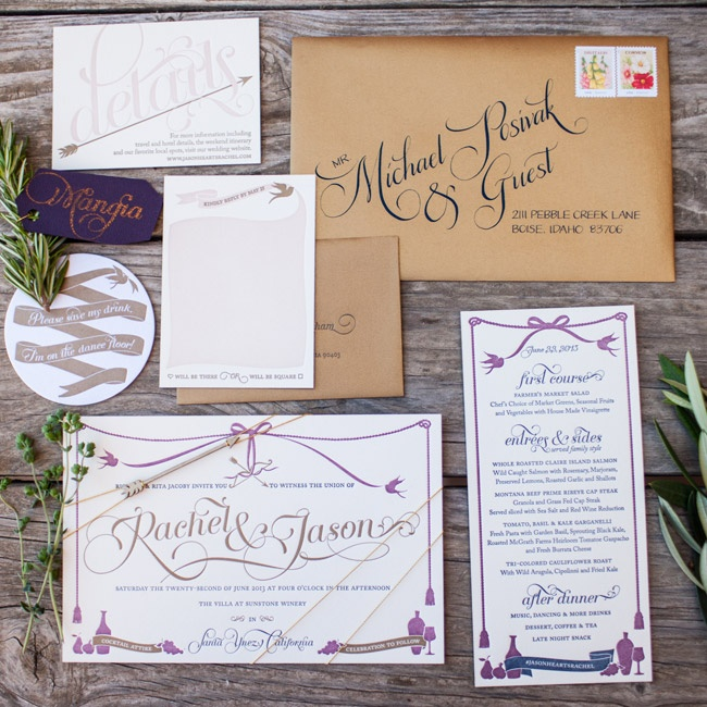 """Paper goods are my business, so I was thrilled to have the opportunity to do things I've always wanted to do,"" Rachel says of the tricolor letterpress invitation suite she designed herself. ""I went all out!"""
