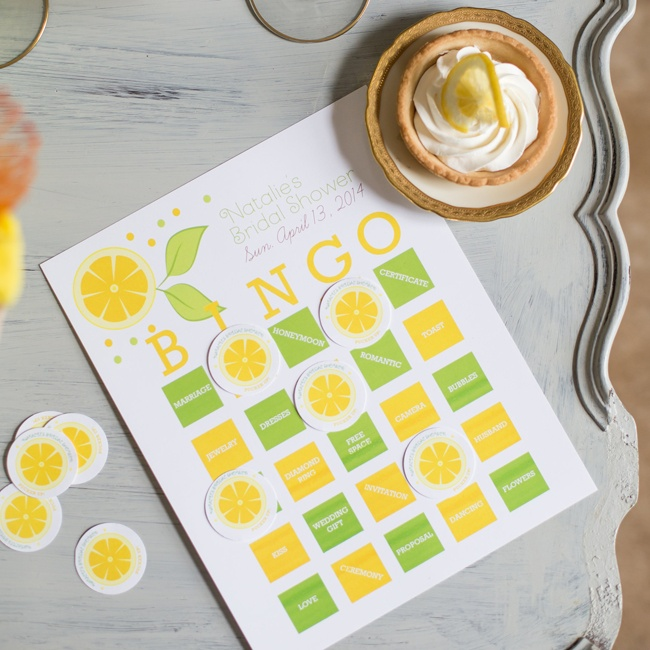 Wedding-themed bingo sheets are given a fresh, modern look with bright yellows and greens.