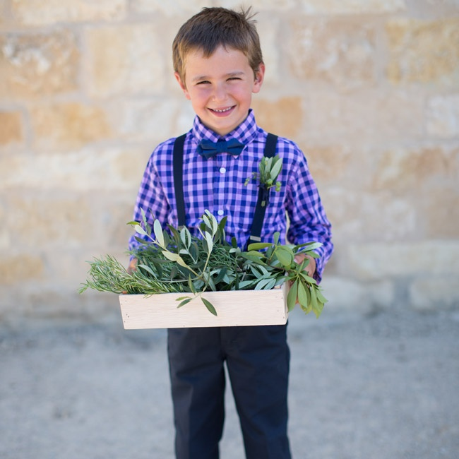 Rachel's youngest nephew, Morris, carried a wooden box of herbs and olive branches down the aisle.