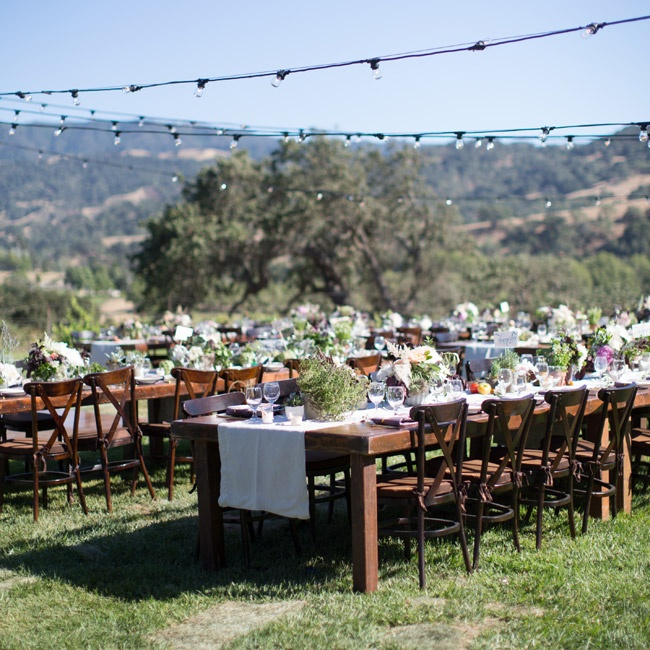 Linen runners showed off the rich wood of the long farm tables at the reception.