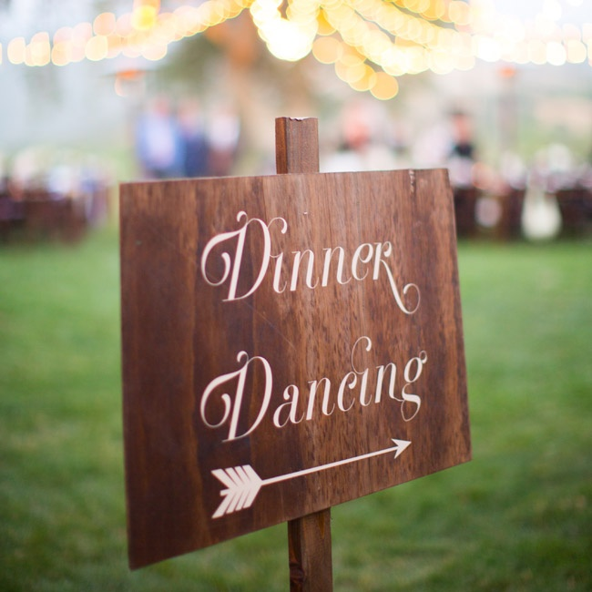 A sign told guests where to head for the reception's dinner and dancing portion.