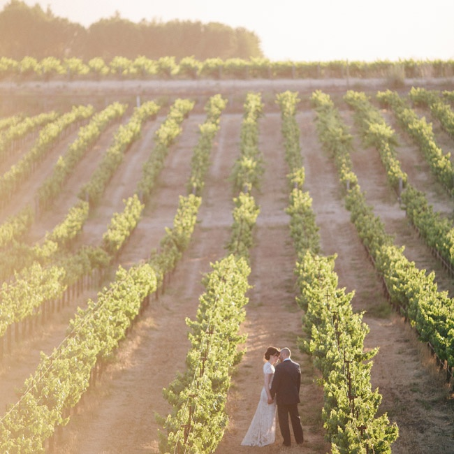 """Jason and I basked in the sunset, stole a few kisses and vowed to remember that moment and that blissful feeling for the rest of our lives,"" Rachel says of their postceremony photos in the vineyard."