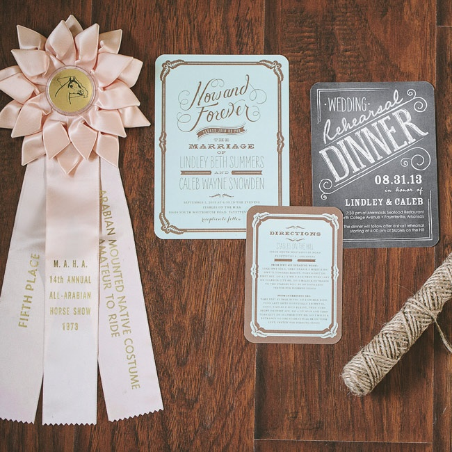Lindley and Caleb's invitation's had a vintage vibe with old-timey fonts and a faded look mixed with gilded printing.