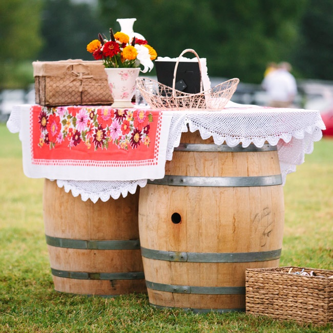 Guests could grab programs on this rustic wine barrel display before the ceremony.