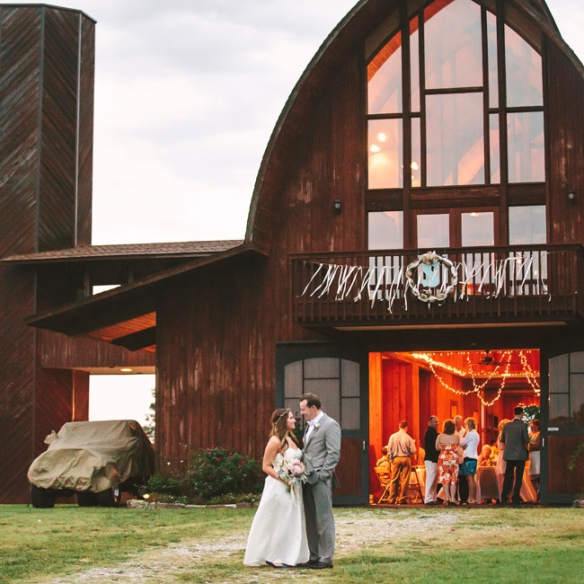At Lindley and Caleb's wedding, dinner and dancing took place in a barn venue.