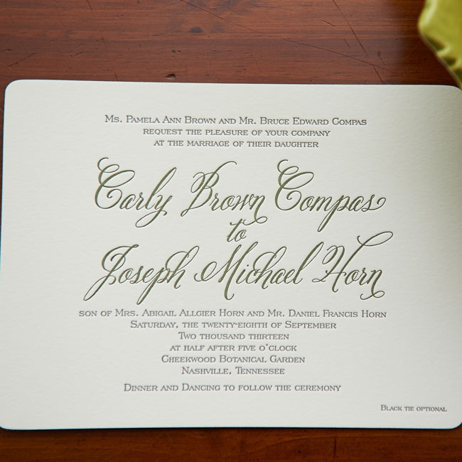 The couple's invitations had a simple, traditional look with ivory card stock paper and letterpress script in dark green ink.