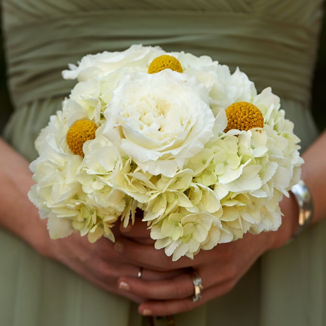 Yellow billy balls added a fresh pop of color to the bridesmaids' ivory rose and hydrangea bouquets.